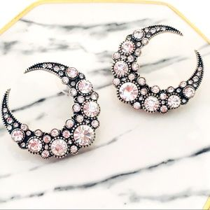 Crystal Crescent Moon Earrings